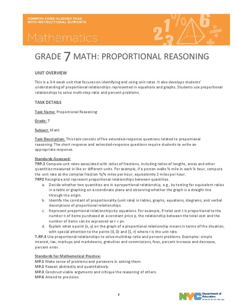 Proportional Reasoning Lesson Plan
