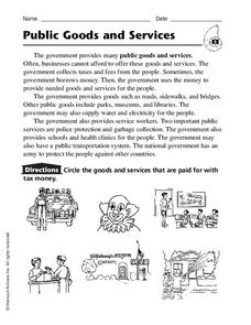 Public Goods and Services Worksheet