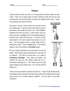 pulleys worksheet for 6th 8th grade lesson planet. Black Bedroom Furniture Sets. Home Design Ideas