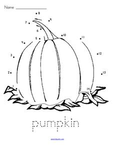 Pumpkin Dot to Dot Worksheet
