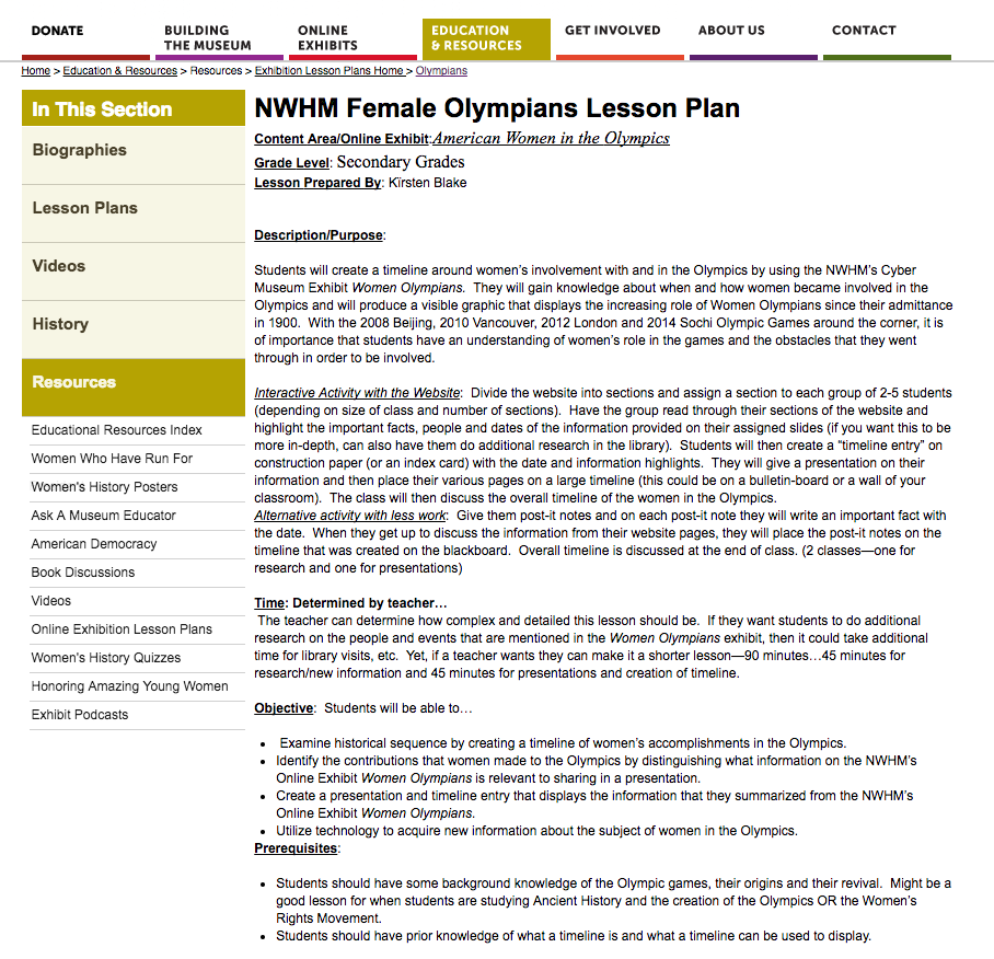 Female Olympians Lesson Plan Lesson Plan