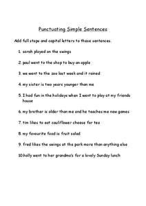 Punctuating Simple Sentences Worksheet