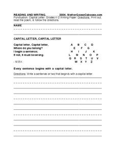 punctuation and capital letters worksheet for kindergarten 5th grade lesson planet. Black Bedroom Furniture Sets. Home Design Ideas