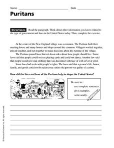 Puritans Worksheet