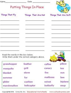 Putting Things in Place Worksheet