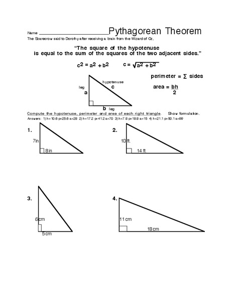 Pythagorean Theorem Worksheet For 8th