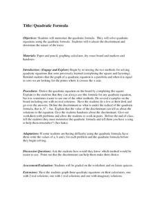 Quadratic Formula Lesson Plan
