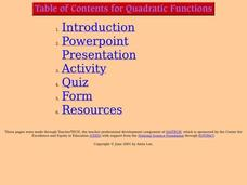 Quadratic Functions Lesson Plan