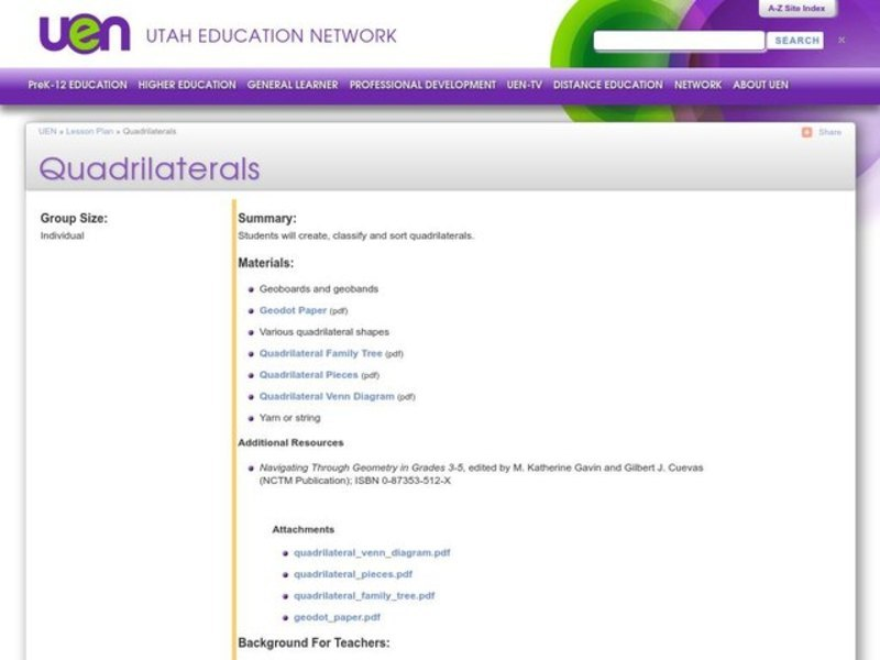 Quadrilaterals Lesson Plan
