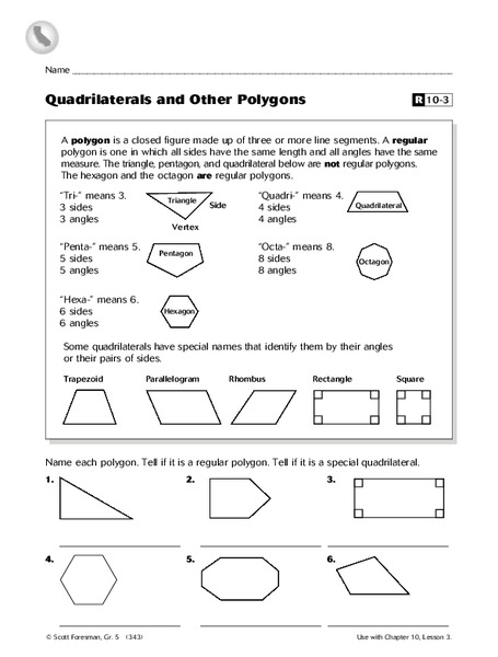 quadrilaterals and other polygons worksheet for 5th grade lesson planet. Black Bedroom Furniture Sets. Home Design Ideas