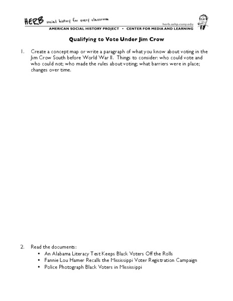 Qualifying to Vote Under Jim Crow Worksheet