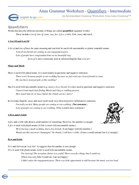 Quantifiers Worksheet for 9th - Higher Ed   Lesson Planet