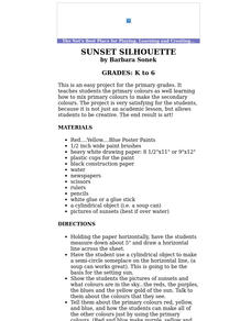 Sunset Silhouette (primary colours) Lesson Plan