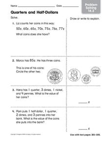 Quarters and Half-Dollars Worksheet