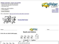 Quarts and Gallons Worksheet