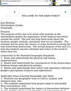 Welcome to the Rain Forest Lesson Plan