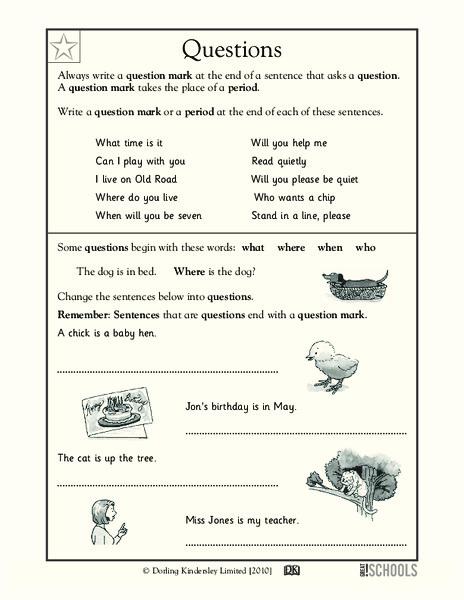 Question Marks Worksheet for Kindergarten - 1st Grade