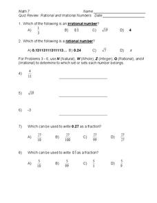 quiz review rational and irrational numbers worksheet - Rational And Irrational Numbers Worksheet
