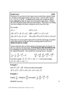 Radicals Worksheet