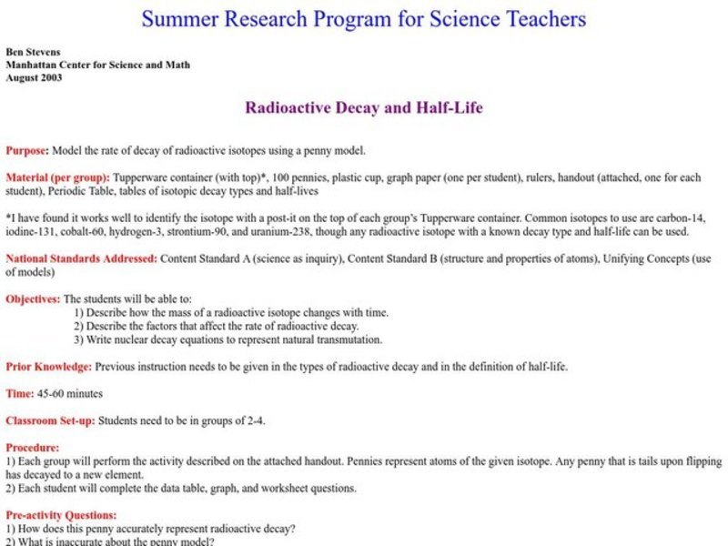 Radioactive Decay and Half-Life Lesson Plan