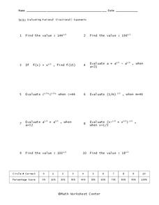 Rational Exponents Worksheet