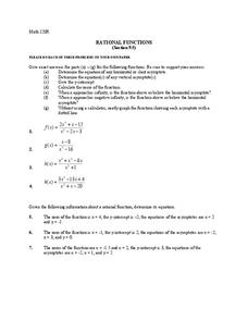 Rational Functions Worksheet
