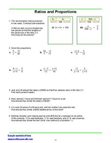 Ratios and Proportions Worksheet