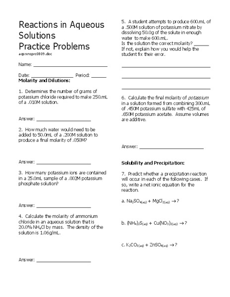 Reactions in Aqueous Solutions Worksheet for 10th - 12th Grade