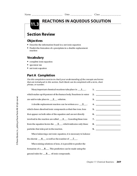 Reactions in Aqueous Solutions 9th - 12th Grade Worksheet | Lesson ...