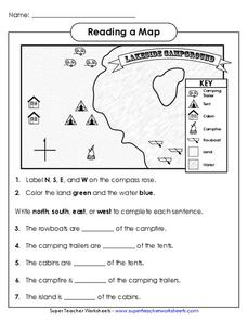 Reading a Map Worksheet for 1st - 3rd Grade | Lesson Planet