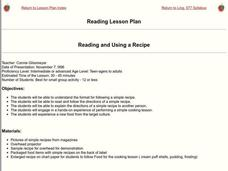 Reading and Using a Recipe Lesson Plan