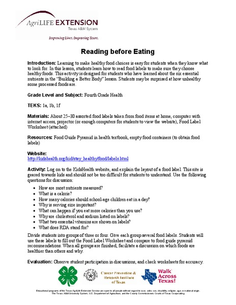 Reading before Eating Lesson Plan
