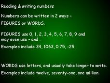 Reading and Writing Numbers Presentation