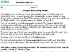 Reading Comprehension Worksheet