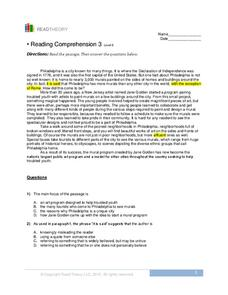 Reading Comprehension Worksheet For 8th