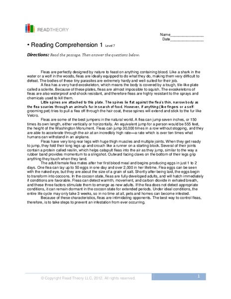 Reading Comprehension 1 Worksheet For 8th 9th Grade