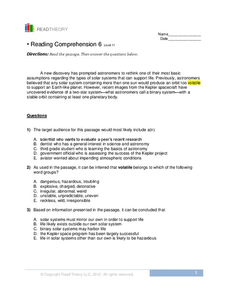 Reading Comprehension 6 Worksheet For 8th 9th Grade