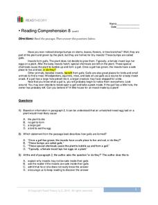 Reading Comprehension 8  Worksheet