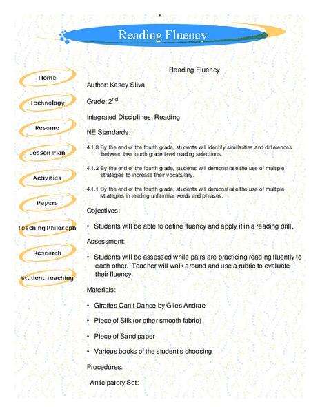 reading fluency lesson plan for 2nd grade