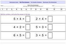 Addition Equations Worksheet