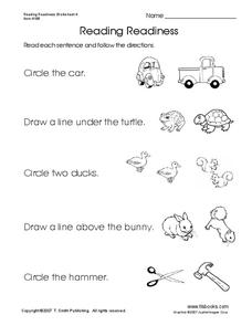 Reading Readiness Worksheet