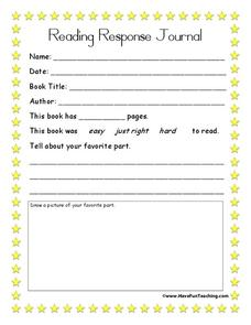 Reading Response Journal Worksheet