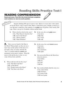 Reading Skills Practice Test Worksheet for 2nd - 4th Grade ...