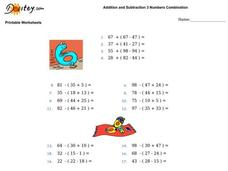Addition and Subtraction 3 Numbers combination Worksheet
