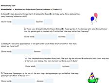 Addition and Subtraction Textual Problems Worksheet