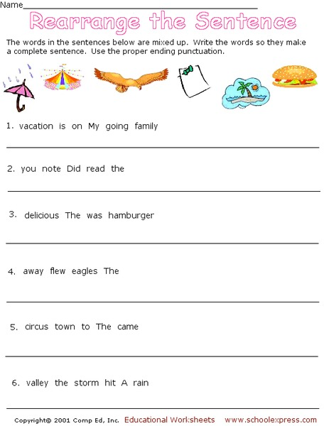 Rearranging Words Sentences Lesson Plans & Worksheets