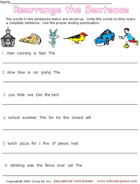 Rearrange the Sentence Worksheet for 2nd - 3rd Grade