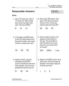 Reasonable Answers Worksheet