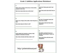 Addition Applications Worksheet