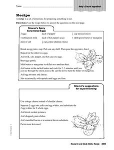 Recipe Worksheet